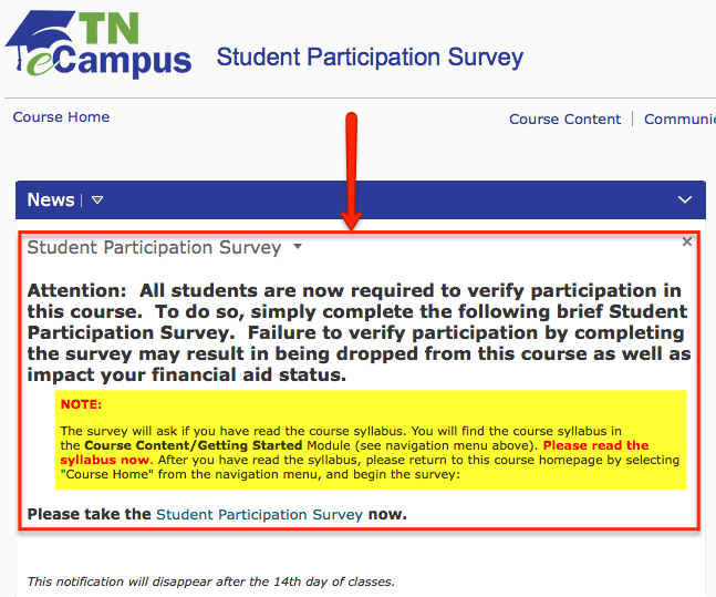student participation survey notification found on online dashboard login