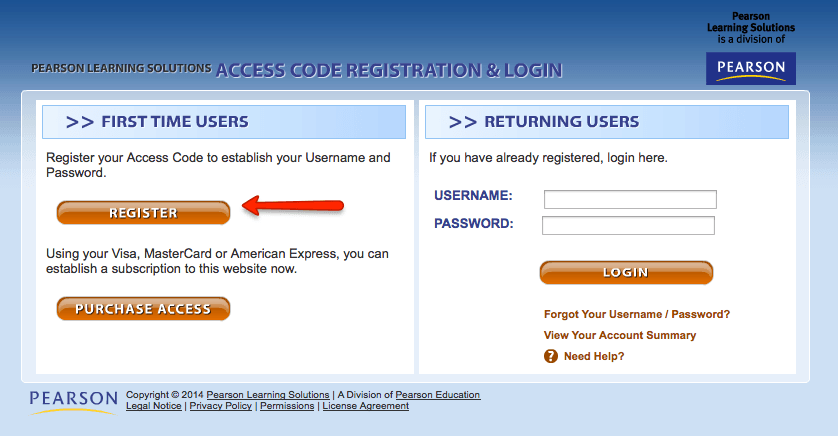 Pearson registration page